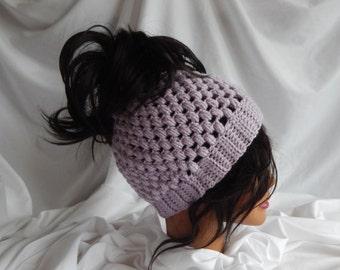 Messy Bun Hat Pony Tail Hat - Crochet Woman's Fashion Hat - Purple Lavender