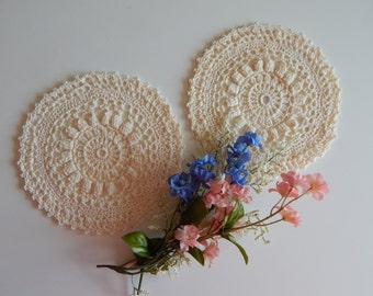"Small Crochet Doily Pair - Off White Ecru Beige - Lacy Small Mini 6"" - Set of 2"