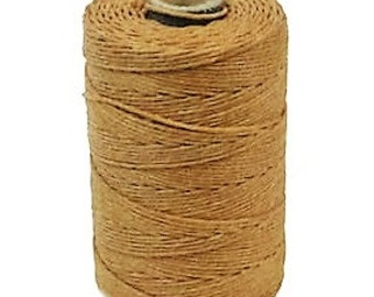 100 Yard Spool, 4 Ply Irish Waxed Linen, Butterscotch Waxed Linen, Amber Waxed Linen, Light Brown Waxed Linen, Crawford Threads Waxed Linen