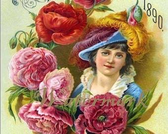 Antique Vintage Seed Catalog Cover Floral Digital Download Printable Image for DIY ID DSC053