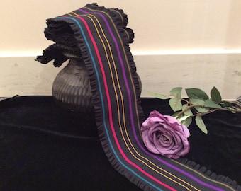 Vintage Eighties Wide Black Ruffled Belt Elastic with Colorful Stripes, Wide Belt Elastic, Colorful Elastic, Striped Elastic