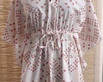 Kaftan, cover up, blouse, women's tunic, beach wear, caftan, organic, cotton, vegetable dye, natural, kaftan top, free size, loose top