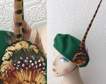 "30's Style Hat, Green Beret with Pheasant Feathers, Robin Hood, Renaissance, High Hat, 21"" Ladies Hat, Wool Dress Hat,  Vintage 1970's"