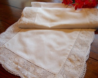 """White Damask Table Runner Vintage Linen and Lace Dresser Scarf 14"""" x 69"""""""