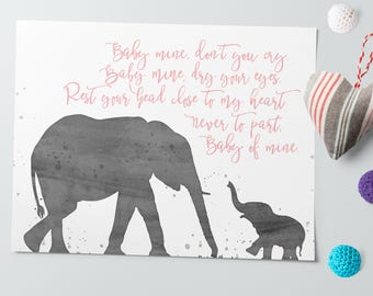 Nursery Printables - Boy Nursery Art - Girl Nursery Art - Elephant Nursery Art - Watercolor Art Print - Watercolor Elephant - Baby Mine