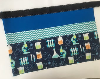 Classroom Apron- science (blue & teal)