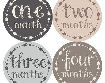 FREE GIFT, Tribal Arrow Month Stickers, Baby Boy Month Stickers, Tan, Taupe, Beige, Brown, Gray, Grey, Monthly Baby Stickers Boy, Baby Gift