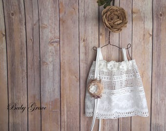 Newborn Prop Dress, Baby Boho Dress, Newborn Photo Outfit, Newborn Headband, Newborn Photo Prop, Newborn Photo Outfit, Lace Baby Dress
