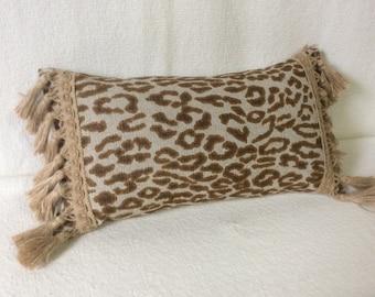 Leopard print  Lumbar Pillow 9x16 decorative throw accent burlap tassel fringe
