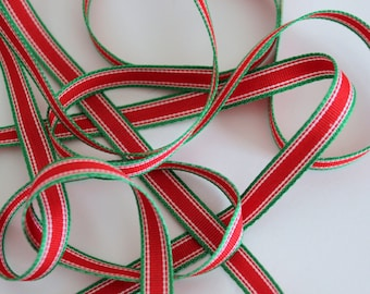 """3/8"""" Grosgrain Ribbon - Red, Green and White Stripe - 5 yards"""