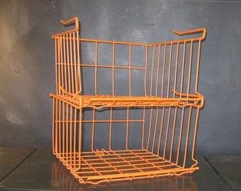 Pair Orange Metal Wire Stackable Slide on Shelf Storage Baskets-Office Organization
