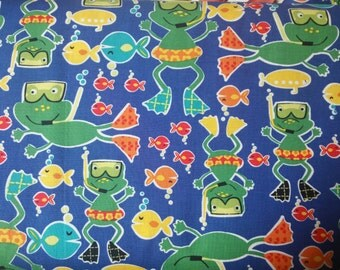 Scuba doo frogs on blue   by Micheal Miller fabric