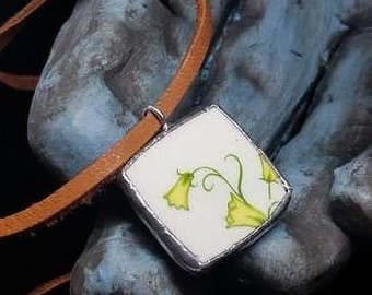 Green Vine Broken China Plate with Silver Solder on Soft Tan Leather Necklace