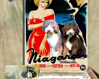 Spanish Water Dog - Perro de Agua Espanol Print Fine Art Canvas -Niagara Movie Poster NEW COLLECTION by Nobility Dogs