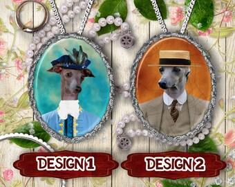 Italian Greyhound - Iggy Jewelry  Pendant  or Brooch/Italian Greyhound Portrait/Handmade Jewelry/Custom Dog Jewelry By Nobility Dogs
