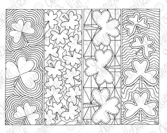 Shamrock Bookmarks March PDF Printable Coloring Page St. Patricks Day Activity