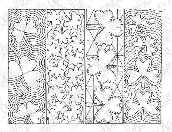 Shamrock Bookmarks March PDF Printable Coloring Page St