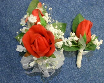 Prom Wrist Corsage and Man's Boutonniere. REAL TOUCH Red Roses White Babies Breath, pearl sprays, hand tied bow. Mother of the Bride Flowers
