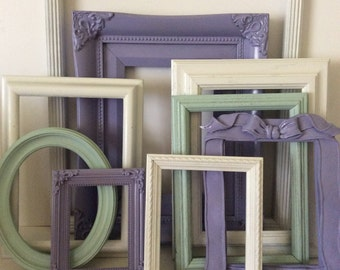 9 Lavender White Aqua Mint Picture Frames - Shabby Cottage Chic - Frame Collection - Girls Room Baby Nursery - Gallery Wall - Distressed