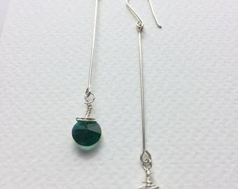 Emerald Vintage Swarovski crystal long earrings