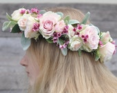 Bridal Flower Crown, Silk Flower, Wreath, Wedding Flowers, Halo, Pink and Peach Roses with Lambs Ear and Waxflower.