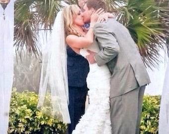 Fingertip length veil with blusher cut edge wedding veil bridal  ivory diamond white 2 tier veil 2t45