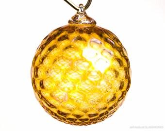 Hand Blown Glass Ornament - Pale Transparent Orange with Diamond Pattern