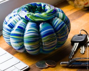 Hand Blown Glass Bowl - Bulging Ribs with Blue and Green Streaks