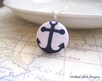 Anchor Button Necklace,Button Necklace,Button Jewelry,Fabric Button Jewelry,Anchor Necklace,Anchor Jewelry,Nautical Necklace,Girls Jewelry