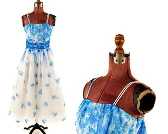 Vintage 1950's Sheer White + Blue Floral Nylon Chiffon Full Skirt Party Prom Evening Dress S