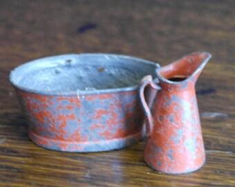 antique toy dolls house minature wash basin and jug
