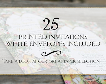 Set of 25 printed invitations/cards- White envelopes included