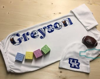 Personalized Baby Gown and Hat Set, Kentucky Wildcats Baby, Personalized Baby Gift, Wildcats Baby Outfit, Going Home Outfit,Baby Shower Gift