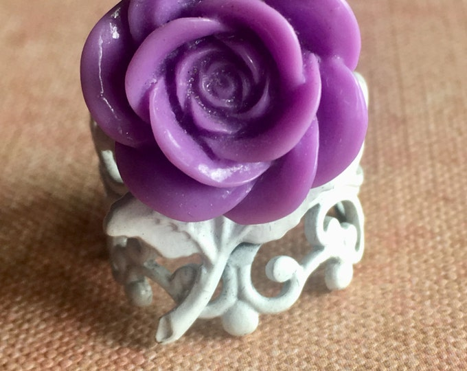 Jewelry Ring, Adjustable Ring, Rose Ring, Steampunk Ring, Victorian Ring, Romantic Ring, Lavendar Ring, Rose Ring, Cabochon Ring