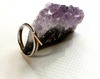Spinner Ring, Mixed Metal Spinner Ring, Gold Spinner Ring, Sterling Spinner Ring, XO Ring, Fidget Spinner, Thin Spinner Ring, Fidget Ring