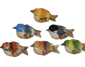 24 pc 1 1/4 Inch Mini Craft Bird on Wire Pick (Wanda) Petite Birds for Crafting, Floral Arranging, Costumes, Parties