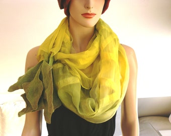 Nuno Felted Shawl, Silk wool scarf - hand-felted and hand painted  scarf, green and yellow