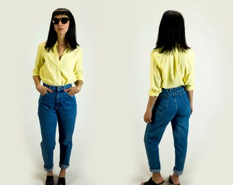 Vintage 1970s Diane Von Furstenberg Canary Yellow Oxford Button Down Boyfriend Shirt Fits Like Size S Small // M Medium