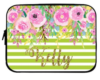 Glitter Personalized Watercolor Floral  Laptop Case