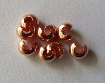 3mm Copper Plated Crimp Covers , Pack of 100  *CLEARANCE*