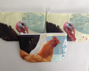 Upcycled Eco Friendly Chicken Feed Bag wallet or change purse