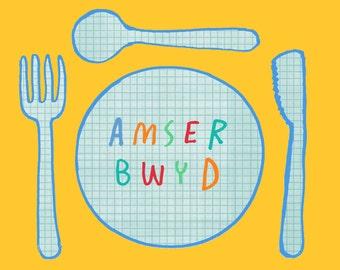 PRE-ORDER Kids Welsh Amser Bwyd Tea Food Time Unisex Melamine Placemat and Coaster Set
