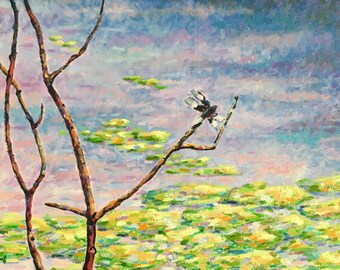 Original Impressionist Oil Dragonfly Painting 18x24