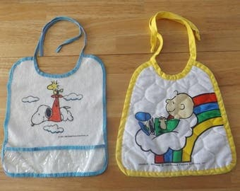 Vintage Peanuts Snoopy Woodstock Charlie Brown Bibs  / Two Baby Bibs / United Features / 50's