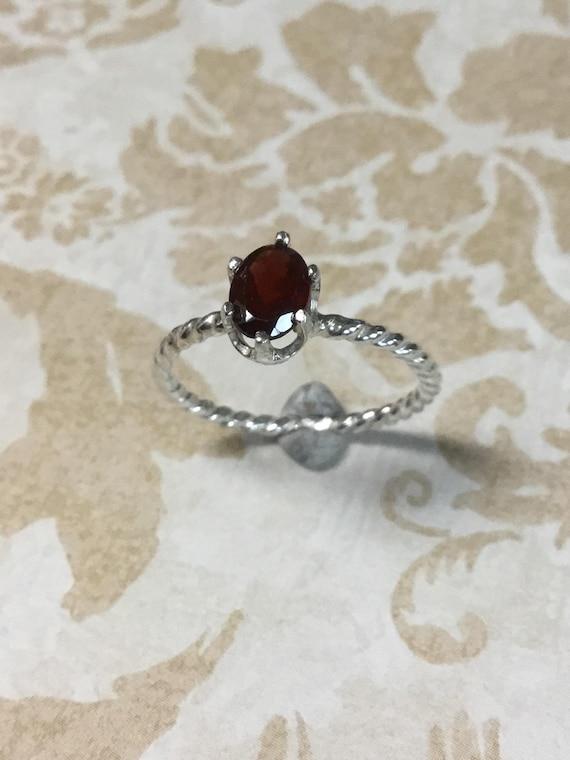 Mozambique Garnet Gemstone Ring, Sterling Silver, January Birthstone, Artisan Jewelry, 925 Silver, Handcrafted, Metalcraft, Handmade USA
