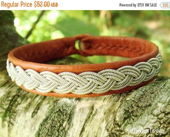 EDDA Viking Braid Sami Bracelet in bark tanned Cognac Brown Reindeer Leather with Spun Tin Wire and Antler Button - Handmade to Your Wishes