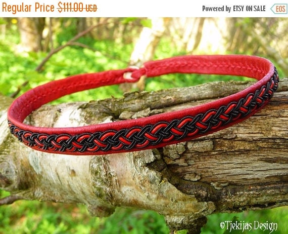 Sexy Red Leather Viking Necklace NIFLHEIM Scandinavian Sami Choker Collar with spun Black Wire Braid - Custom Handmade to Your Wishes