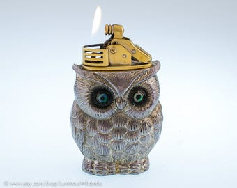 Working Figural Owl Table Lighter Made In Occupied Japan