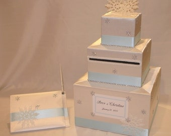 Winter  Wonderland /Snowflake theme Wedding Card Box with matching Guest Book/Pen