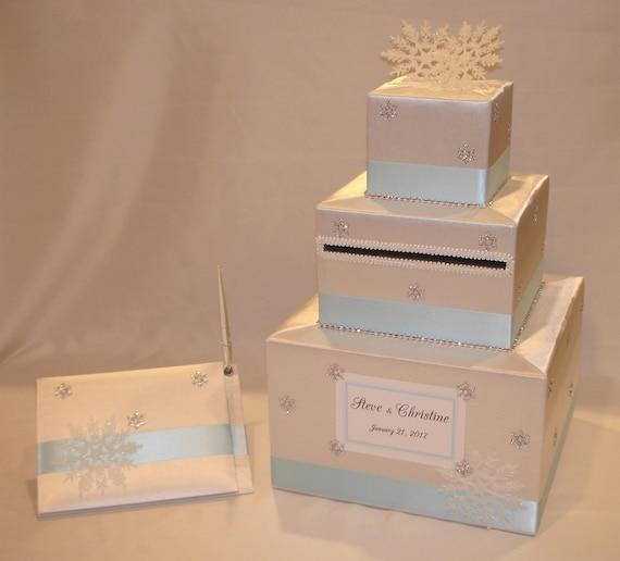 Winter Wedding Gift Card Box : Winter Wonderland /Snowflake theme Wedding Card Box with matching ...